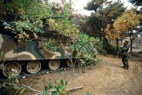 A Republic of Korea Army soldier camouflages his tank with tree branches as part of a battle-simulation exercise.