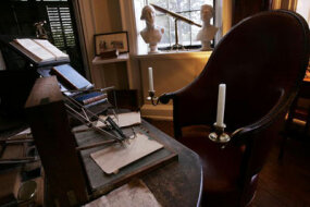 Jefferson's cabinet contains his trusty polygraph and important volumes.