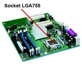 A Socket LGA755 motherboard