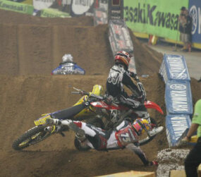 Motocross bikes in action.
