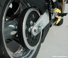 The belt drive on a Buell Lightning