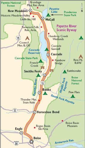 View Enlarged Image This map details Payette River Scenic Byway.