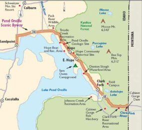 View Enlarged Image This map will guide you along Pend Orielle Scenic Byway.