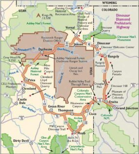 View Enlarged Image This map details Dinosaur Diamond Highway.