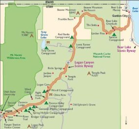View Enlarged Image This map details what you'll see along Logan Canyon Scenic Byway.