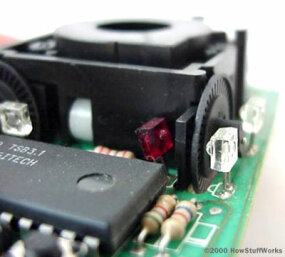 A close-up of one of the optical encoders that track mouse motion: Note the piece of plastic between the infrared sensor (red) and the encoding disk.