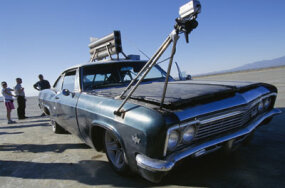 "A camera rig on the original rocket car from season one of ""MythBusters"""