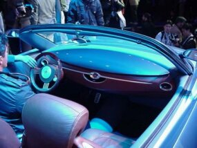 Inside the Buick concept car.