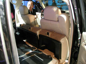 Inside the cab, the folded-over seats extend the bed floor.