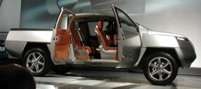 The wide-opening suicide doors of Nissan's concept truck.