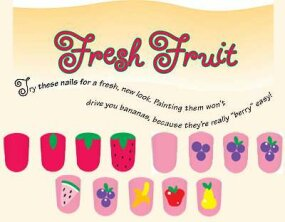 The fresh fruit nail art idea includes many fruit shapes.