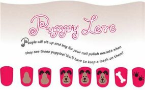 Paint the puppy love nail art design in six steps.