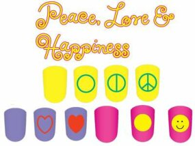 The peace, love, and happiness nail art design includes a peace sign, heart, and happy face.