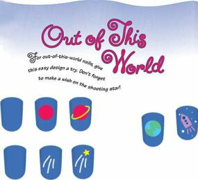 The out of this world nail art design includes                              planets, shooting stars, and more.
