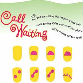 Paint the call waiting nail art idea in eight steps.