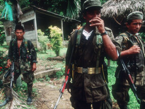 FARC guerillas along the border between Colombia and Panama in July 1999.
