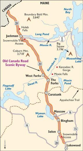 This map details Old Canada Road Scenic Byway.