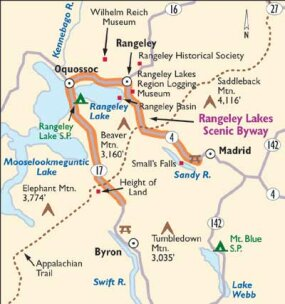This map details Rangeley Lakes Scenic Byway.