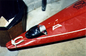 Sharp's red kayak, found on the Canadian side of Horseshoe Falls with just a small dent