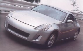 The Flat Ride concept was designed to provide stability in hard cornering. This is the 350Z prototype on the banking at the Tochigi high-speed test track.