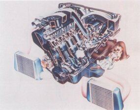 The 300ZX twin-turbo V-6 engine put out 300 horsepower with manual transmission, and 280 when linked to the automatic.