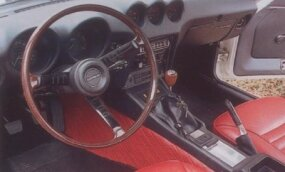 Vinyl covered the driveshaft tunnel in the Datsun 240Z, as well as the two bucket seats.