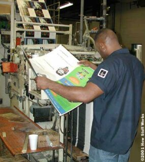 Print quality is checked frequently by the press operator.