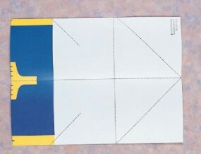 Fold the paper in half on the center line.