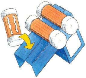 Glue the Paper Train's wheels onto the body.