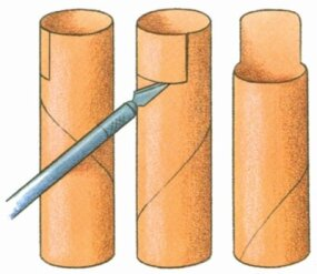 Cut the wrapping paper tube into a four-inch-tall section.