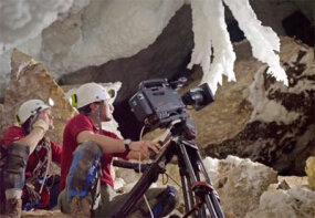 A two-man camera team shoots in New Mexico's Lechuguilla crystal caves.