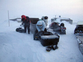 The Antarctic team prepares to set out for a long day of shooting in sub-zero temperatures.