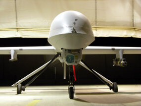 The MQ-1 Predator Hunter/Killer is equipped with two Hellfire missiles and a targeting system.