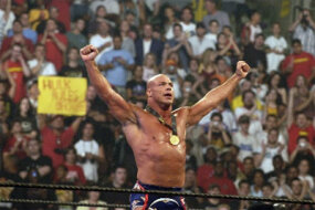 WWE Raw superstar Kurt Angle began his career as an amateur wrestler, winning Olympic gold in Atlanta in 1996 (he often wears his medal in the ring, as show here). He shocked the amateur wrestling world when he turned pro.