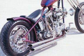 The Purple Haze chopper sports a chrome-plated SU carburetor and custom pipes bent by the builder.