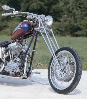 Old-style girder forks add an unusual look to the front end of the Purple Haze chopper.