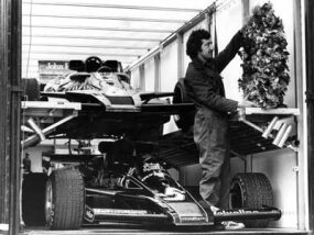 Mario Andretti's stacker trailer could hold multiple race cars.