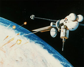 An artist`s concept of the interception and destruction of nuclear-armed re-entry vehicles by a space-based rail gun.