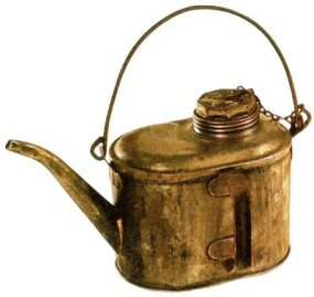Before the widespread use of petroleum oils in the late nineteenth century, tallow -- animal fat -- was a useful lubricant for steam locomotives. Firemen and engineers used tallow pots to lubricate the cylinders of moving locomotives.