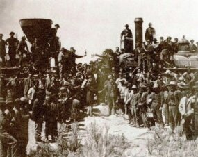On May 10, 1869, railroad dignitaries mingled with a few hundred workers and onlookers to create one of the most well-known railroad photographs in history. At promontory Summit, Utah, the Pacific Railroad has just been completed.