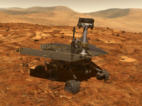 An artist's rendering of a Mars Exploration Rover on the surface of Mars