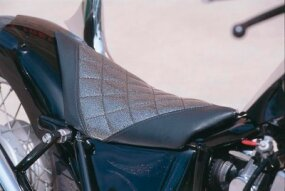 The Honda-powered Rebel exhibits a custom seat insert.