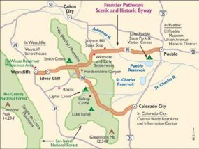 View Enlarged Image Enjoy the view as you follow this map of the Frontier Pathways Scenic Byway.