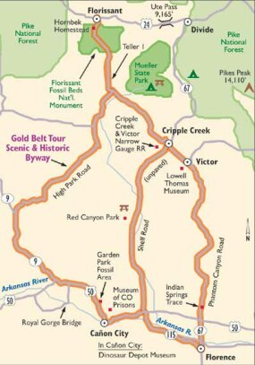 Follow this map of Gold Belt Scenic Byway.