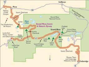 View Enlarged Image As the map shows, the Grand Mesa Scenic Byway has several beautiful scenic overlooks.