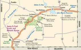 View Enlarged Image Follow this map of the Santa Fe Trail Scenic Byway to retrace the routes of pioneers, Native Americans, traders, ranchers, and miners.