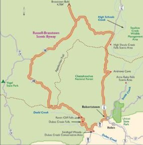 View Enlarged Image This map of Russell-Brasstown Scenic Byway follows the mountainous loop through the greenery of Chattahoochee National Forest.