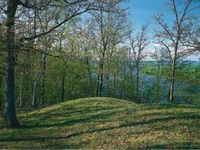 Effigy Mounds National Monument contains 195 prehistoric mounds. Eastern Woodland Indians built the mounds, with 31 being in the shape of effigies.