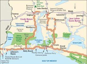 View Enlarged Image This map of the Creole Nature Trail encompasses incomparable wetlands. Along the trail, visit three wildlife refuges.
