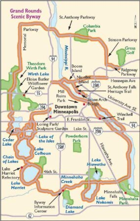 Unlike many of Minnesota's byways, the Grand Rounds Scenic Byway will take you to some of the state's urban attractions, focusing on Minneapolis, as this map shows.